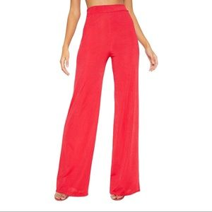 PLT Red Rib Slinky Wide Leg Pants NWT Size 10